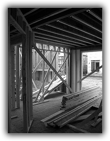 Framing underway on a new home
