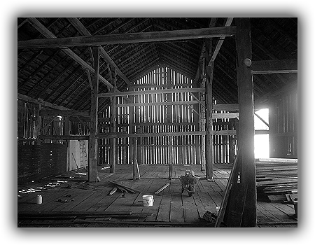 Renovation underway on a caledon barn